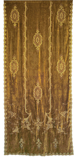 Constance Embroidered Gold Velvet Chateau Curtain Panel