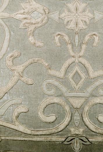 Isobel metallic linen applique curtain panel