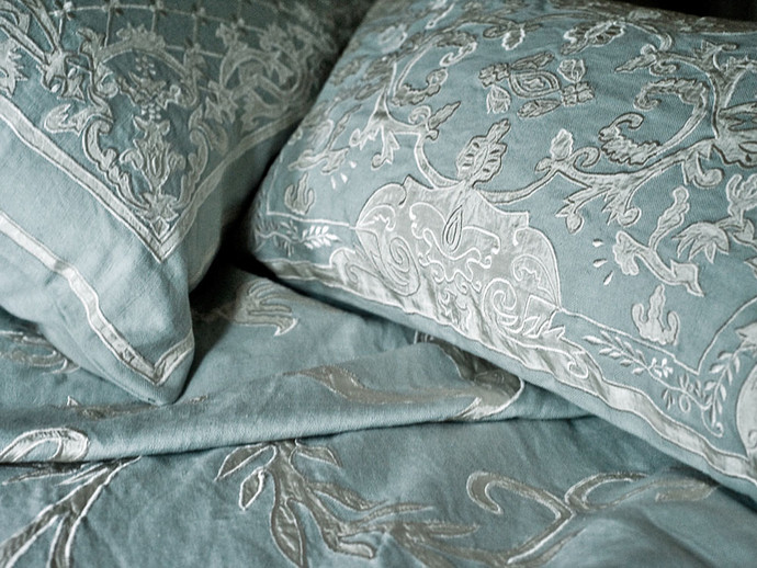 Chatsworth Embroidered Linen Applique Soft Furnishings