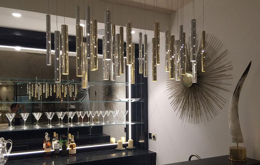 Rain Cloud Chandelier Silver Champagne Flutes Bar Setting
