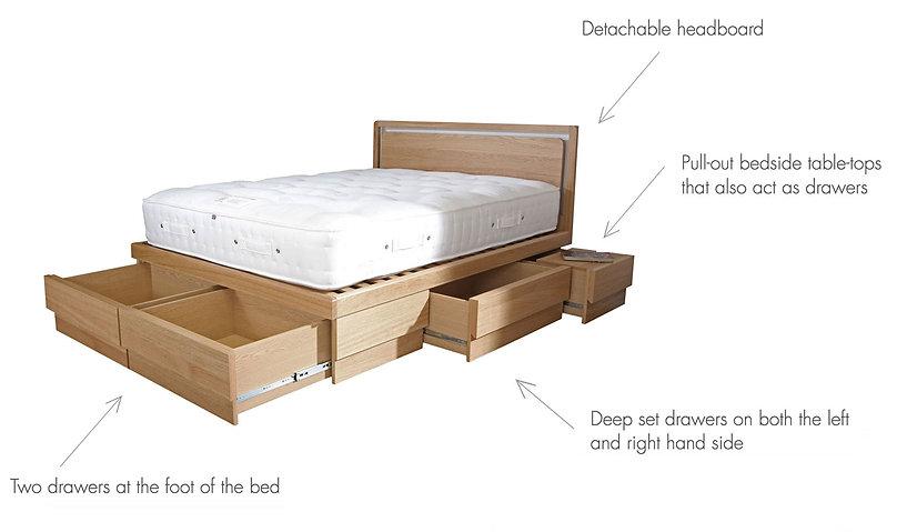 the boxer oak drawer storage bed details