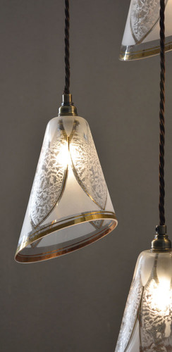 French Vintage 1940s Glass Lamp Shades
