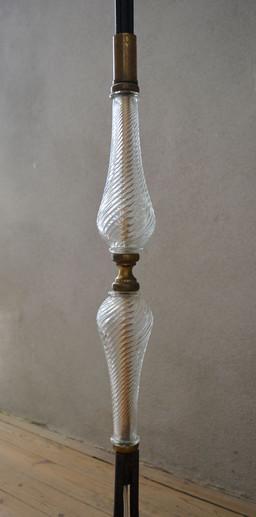 Vintage Floor Lamp Decorative Ribbed Glass