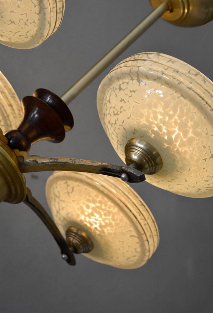 Vintage French 4-Arm Chandelier Verre de Clichy