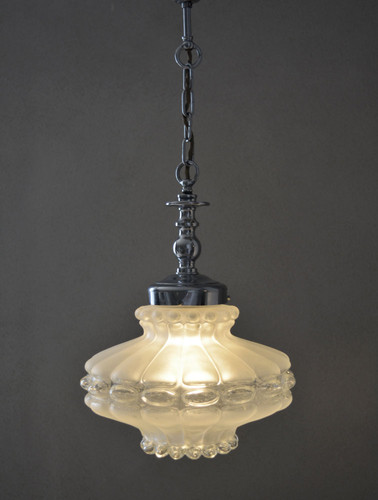 French Vintage Lobed Glass Pendant Lamp