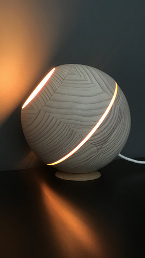 Saturn Natural Wood Sphere Table Light