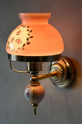 French Vintage Painted Rose Glass Shade