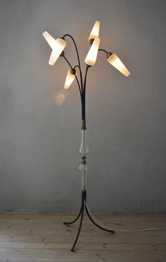 Vintage 1950s Tripod Floor Lamp Six Shades