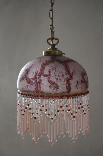 Vintage French Marbled Glass Beaded Pendant Light