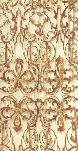 Frances Terracotta Ornate Sheer Net Panel