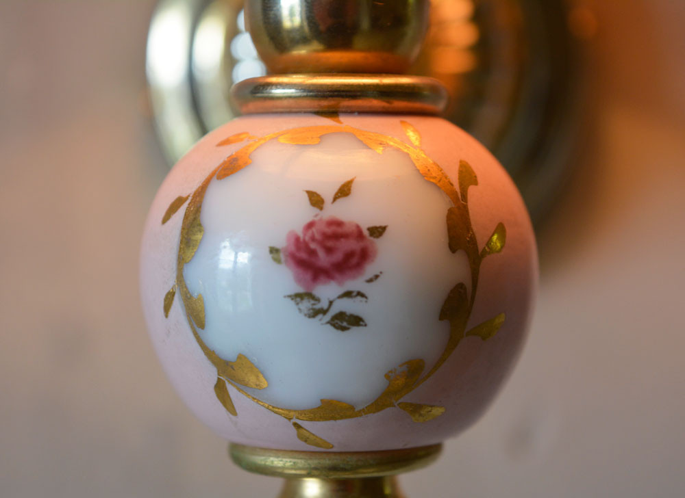 Vintage French Wall Light Painted Rose Ceramic Detail