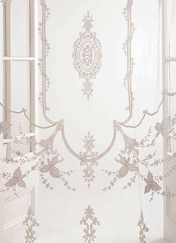 Constance White Embroidered Lace Sheer Net Curtain Panel