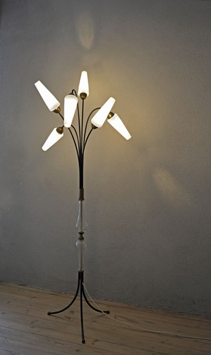 Rare Vintage Mid-Century 6-Shade Floor Lamp