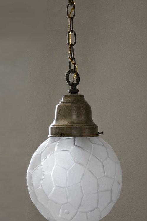 Vintage 1950's Facetted Glass Globe Pendant Light