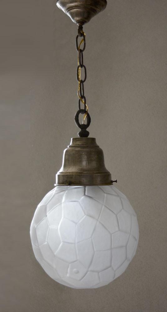 Vintage 1950s Facetted Glass Sphere Pendant Light