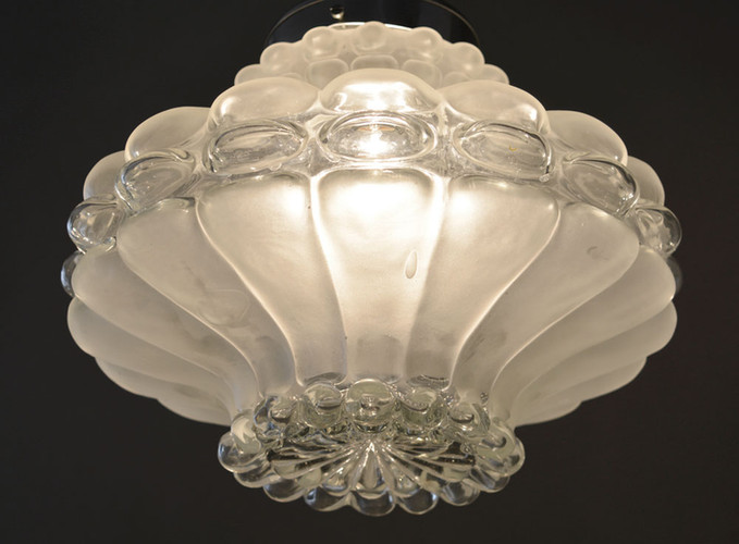 Vintage French Lobed Glass Crown Pendant Light