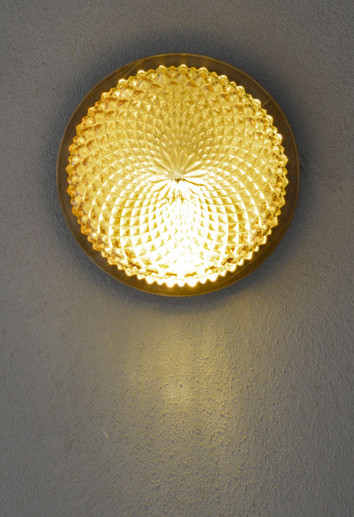 1970s French Vintage Iridescent Amber Glass Sconce
