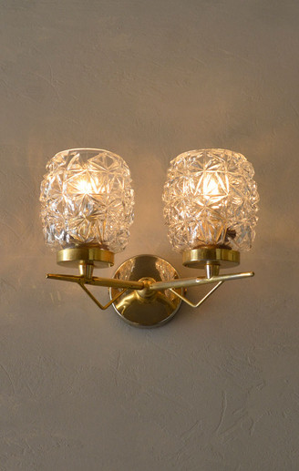 French Vintage 1960s Double Glass Shade Wall Light