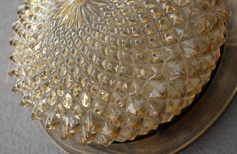 1970s Vintage Iridescent Amber Cut Glass Shade