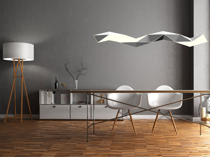 Supernova White Linear Chandelier