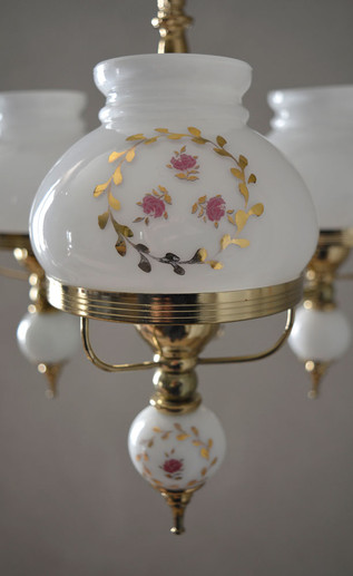 French Vintage Opaline Glass Shade Painted Pink Roses