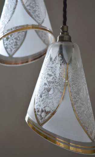 Rare French Vintage Gilded Glass Shade Pendants