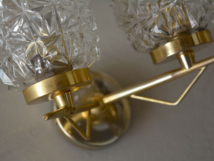 Vintage French Gilded Double Glass Wall Light