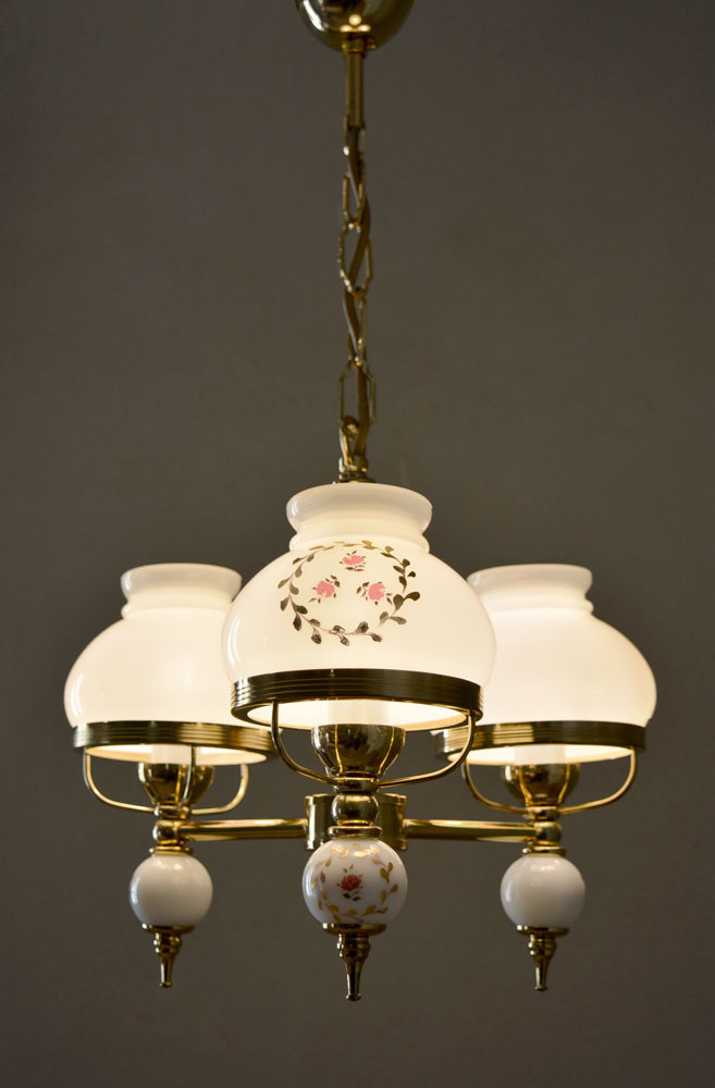 Vintage French Opaline Glass Shade Chandelier