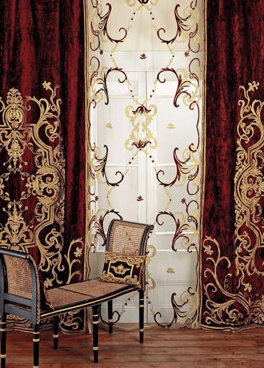 Florence velvet curtain and sheer net panel