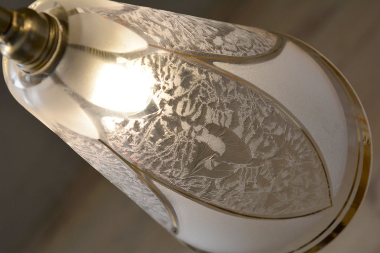 Rare Vintage Frosted Gilded Crackled Glass Lamp Shade