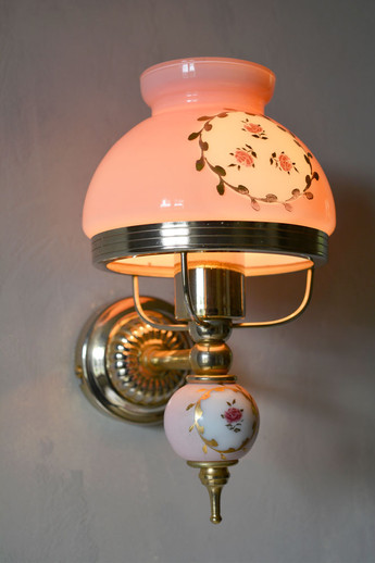 Vintage 1970s Painted Rose Ceramic Glass Wall Light