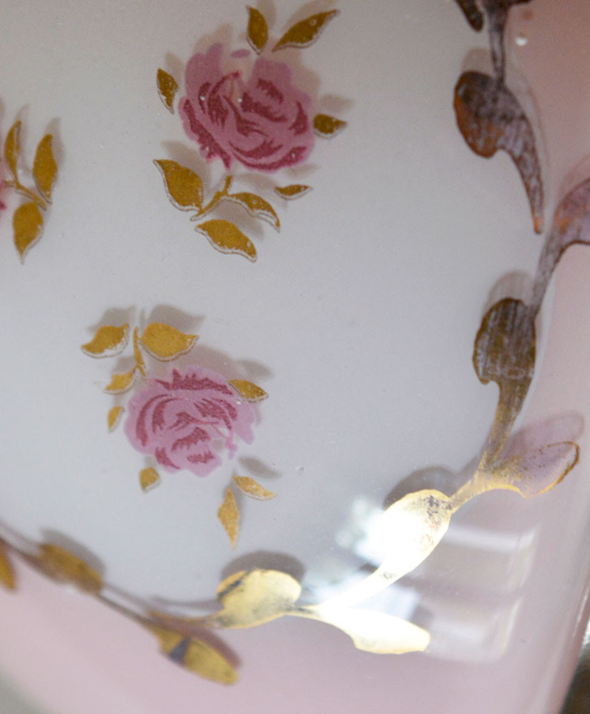 Vintage Painted Pink Rose Glass Shade