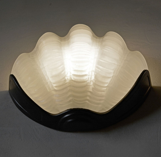 Vintage Glass Clam Shell Wall Light