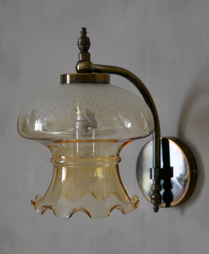 Vintage Amber Glass Wall Lamp Shade