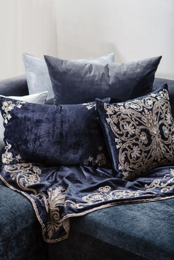 Oscar Velvet Embroidered Panel and Cushion