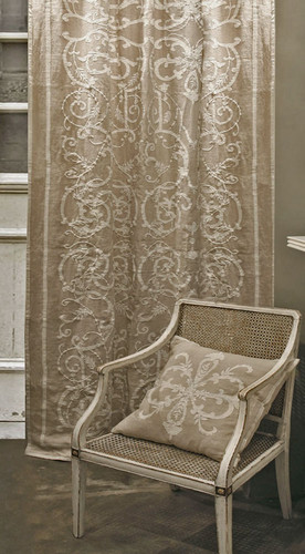 Frances Natural Linen Embroidered Curtain Panel