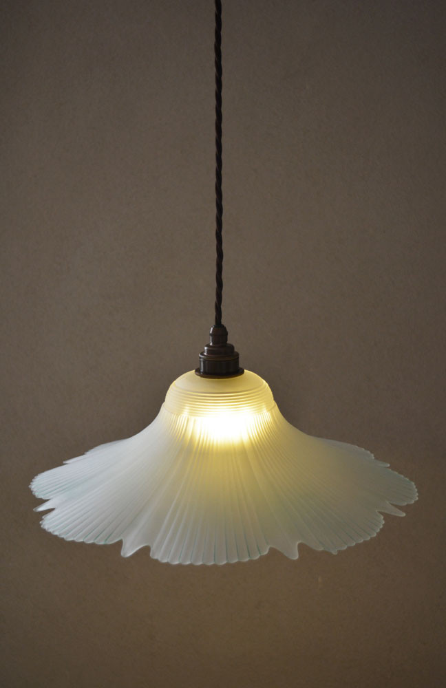 French Vintage Glass Pendant Light