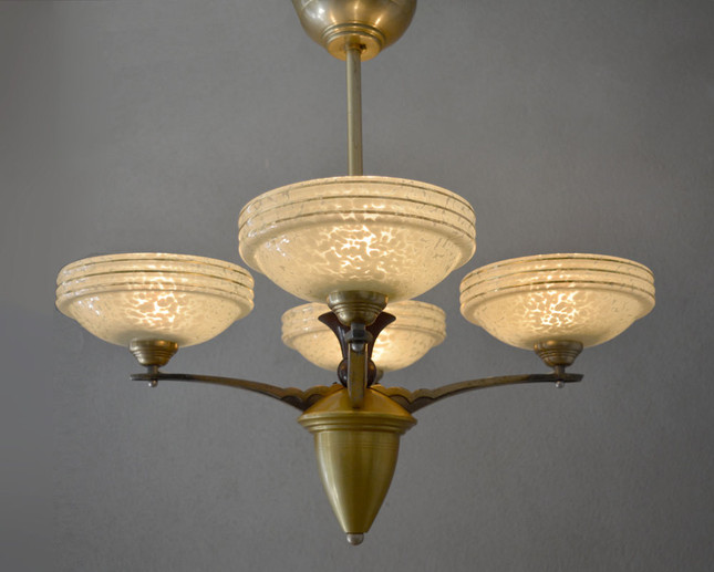 Vintage 1940s Glass Shade Chandelier
