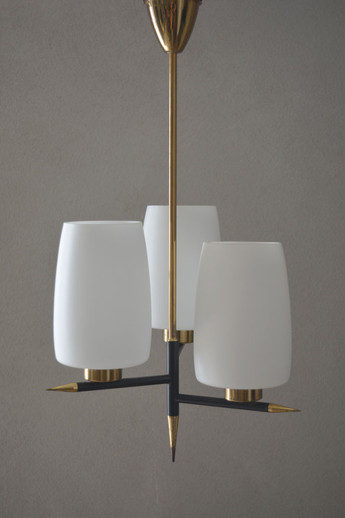 Mid-Century French Triple Shade Chandelier