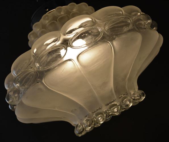 Vintage 1960s Heavy Lobed Glass Pendant Shade