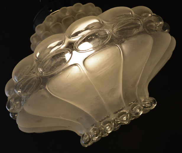 Vintage 1960s Heavy Lobed Glass Pendant Shade