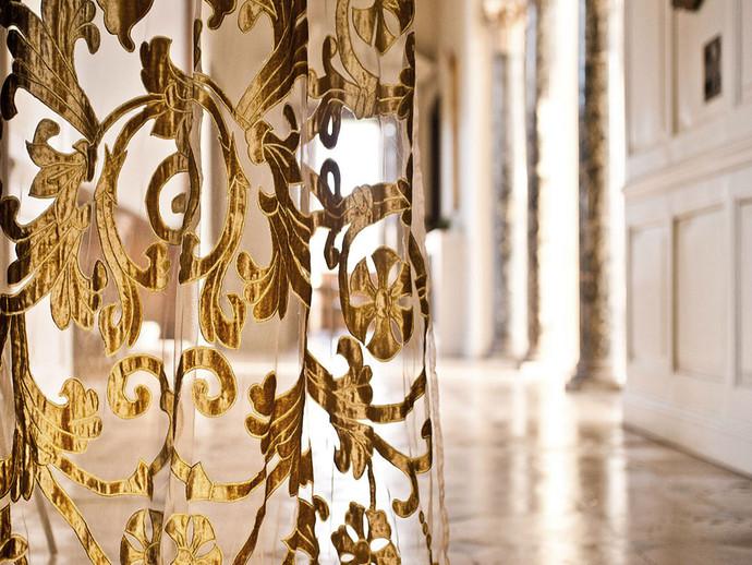 Richmond gold applique sheer panel
