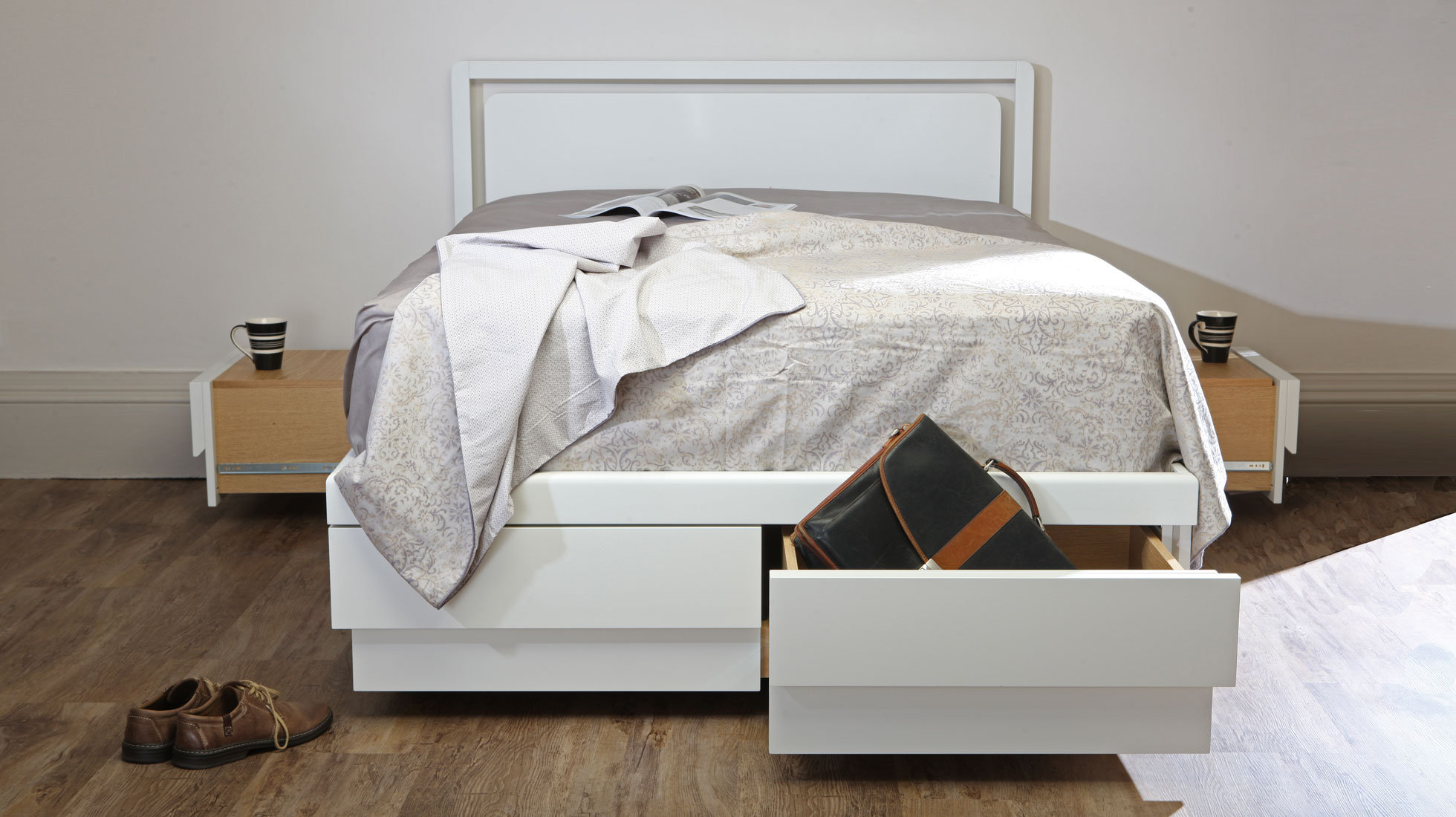 Picture of: Double Boxer 6 Drawer Storage Bed White I The Living Storage Company