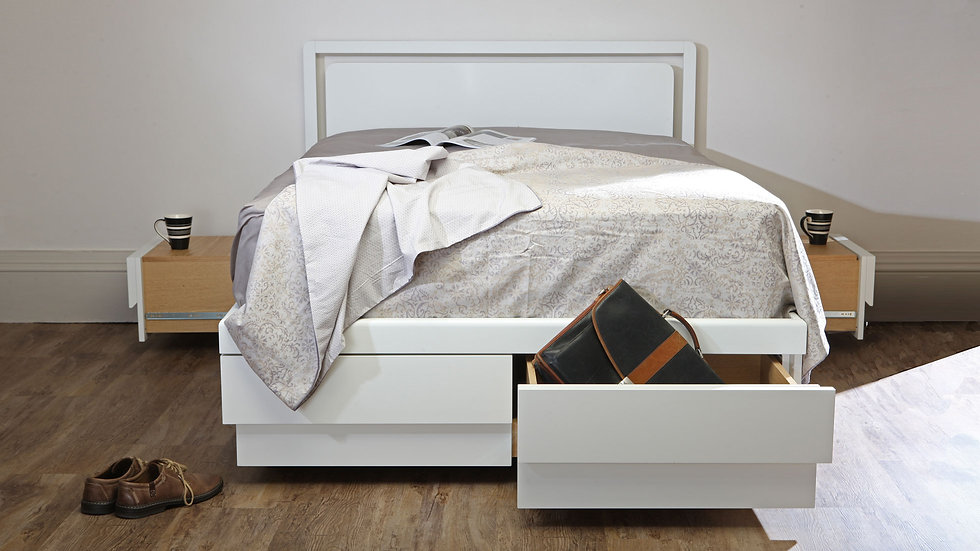 double white drawer storage bed with white headboard