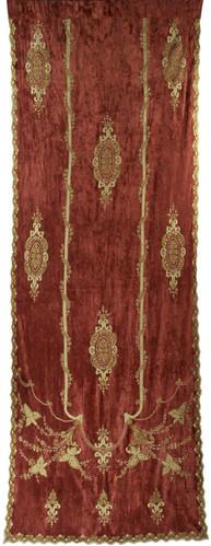 Constance Terracotta Embroidered Velvet Curtain Panel