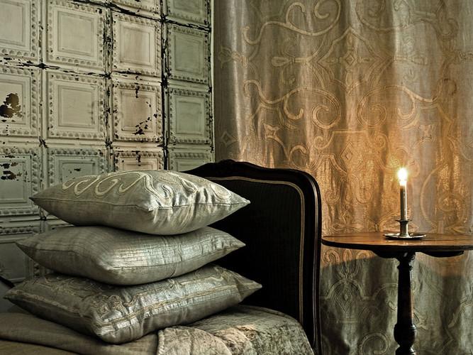 Isobel metallic linen drape and furnishings
