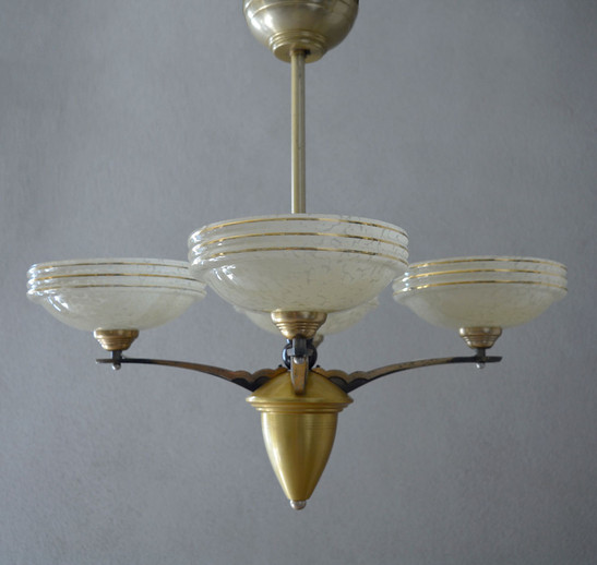 Vintage French 4-Shade Glass Chandelier