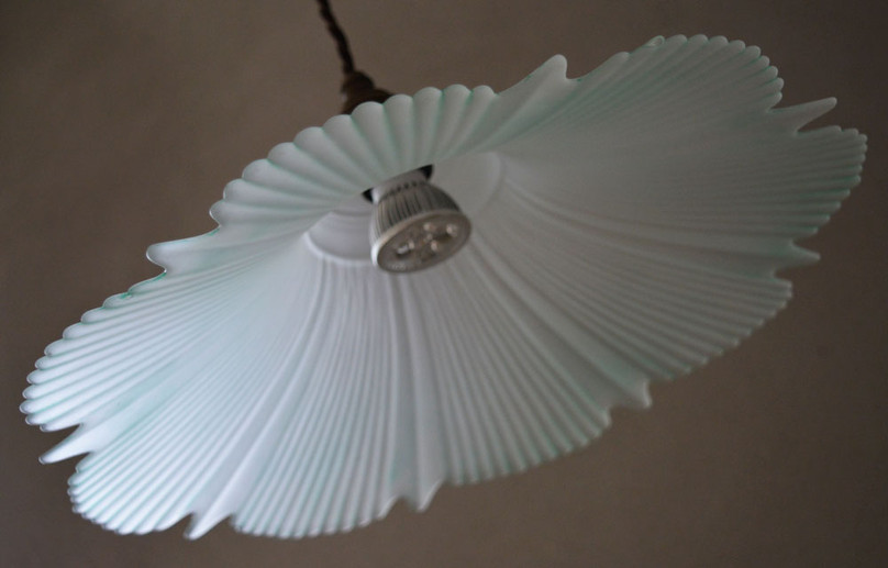 French Vintage Large Ribbed Glass Pendant