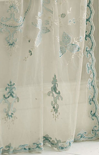 Constance Cream and Blue Sheer Net Lace Panel