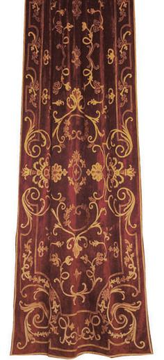 Chatsworth Terracotta Embroidered Velvet Curtain Panel
